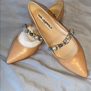 Karl Lagerfeld flats with gems stones